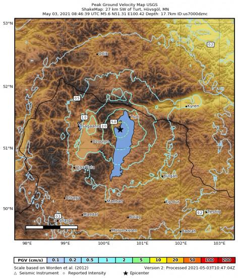 Peak Ground Velocity Map for the Turt, Mongolia 5.6m Earthquake, Monday May. 03 2021, 4:46:39 PM