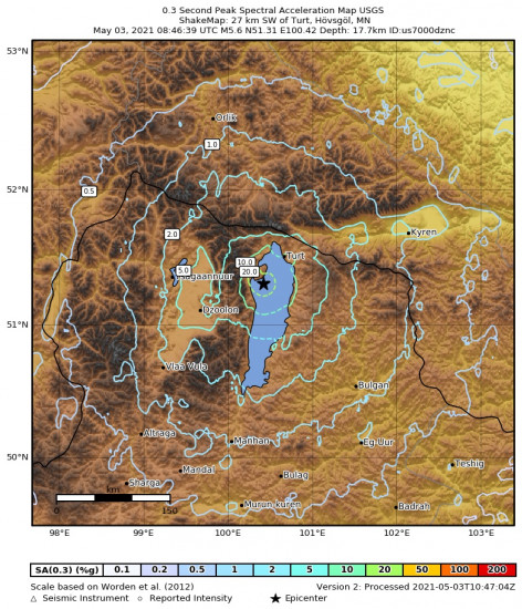 0.3 Second Peak Spectral Acceleration Map for the Turt, Mongolia 5.6m Earthquake, Monday May. 03 2021, 4:46:39 PM