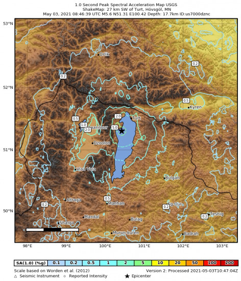 1 Second Peak Spectral Acceleration Map for the Turt, Mongolia 5.6m Earthquake, Monday May. 03 2021, 4:46:39 PM