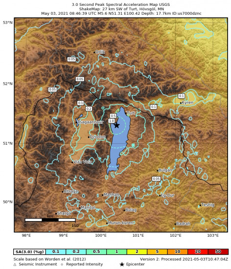 3 Second Peak Spectral Acceleration Map for the Turt, Mongolia 5.6m Earthquake, Monday May. 03 2021, 4:46:39 PM