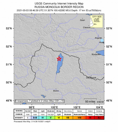 Community Internet Intensity Map for the Turt, Mongolia 5.6m Earthquake, Monday May. 03 2021, 4:46:39 PM