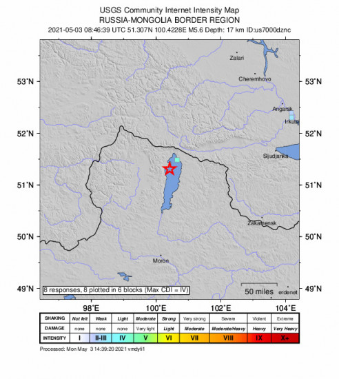 GEO Community Internet Intensity Map for the Turt, Mongolia 5.6m Earthquake, Monday May. 03 2021, 4:46:39 PM