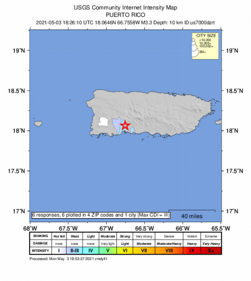 Community Internet Intensity Map for the Santo Domingo, Puerto Rico 3.3m Earthquake, Monday May. 03 2021, 2:26:10 PM