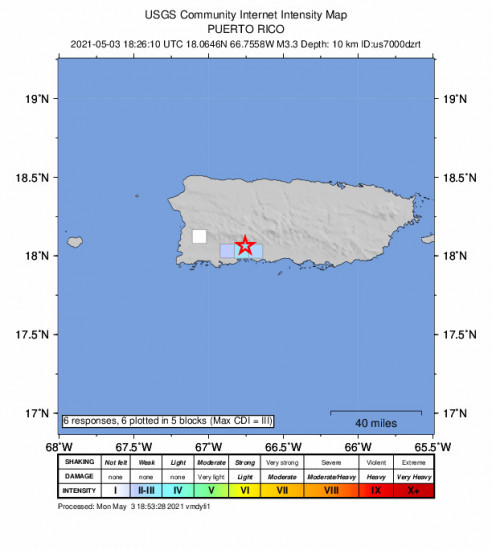 GEO Community Internet Intensity Map for the Santo Domingo, Puerto Rico 3.3m Earthquake, Monday May. 03 2021, 2:26:10 PM