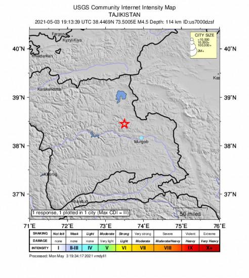 Community Internet Intensity Map for the Murghob, Tajikistan 4.5m Earthquake, Tuesday May. 04 2021, 12:13:39 AM