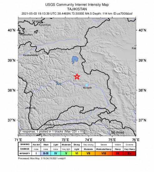 GEO Community Internet Intensity Map for the Murghob, Tajikistan 4.5m Earthquake, Tuesday May. 04 2021, 12:13:39 AM