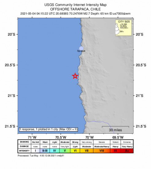 Community Internet Intensity Map for the Iquique, Chile 2.7m Earthquake, Tuesday May. 04 2021, 12:15:22 AM