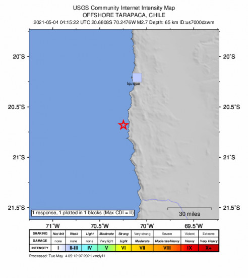 GEO Community Internet Intensity Map for the Iquique, Chile 2.7m Earthquake, Tuesday May. 04 2021, 12:15:22 AM