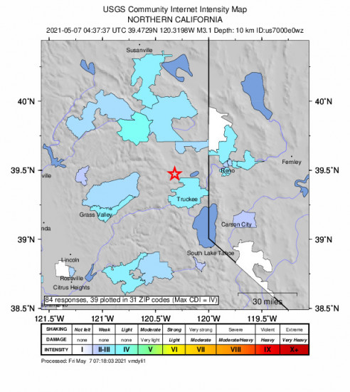 Community Internet Intensity Map for the Sierraville, California 3.1m Earthquake, Thursday May. 06 2021, 9:37:37 PM