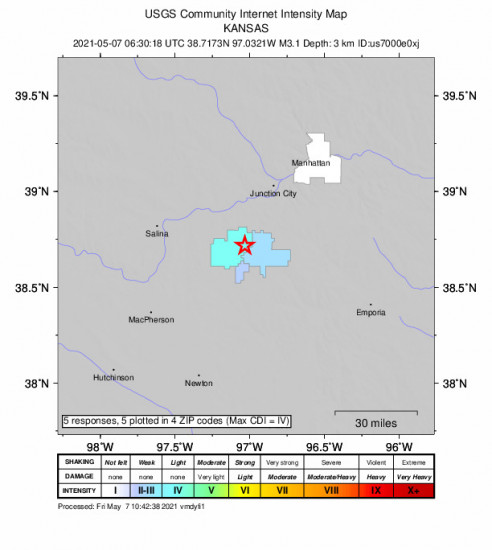 Community Internet Intensity Map for the Hope, Kansas 3.1m Earthquake, Friday May. 07 2021, 1:30:18 AM