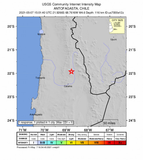 Community Internet Intensity Map for the Calama, Chile 4.6m Earthquake, Friday May. 07 2021, 11:01:40 AM