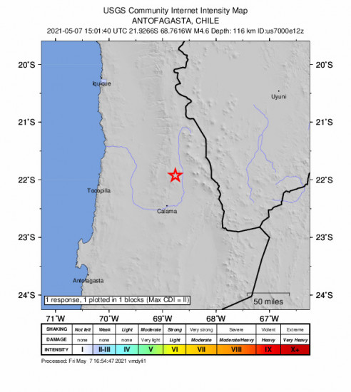 GEO Community Internet Intensity Map for the Calama, Chile 4.6m Earthquake, Friday May. 07 2021, 11:01:40 AM