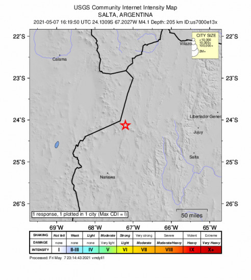 Community Internet Intensity Map for the San Antonio De Los Cobres, Argentina 4.1m Earthquake, Friday May. 07 2021, 1:19:50 PM