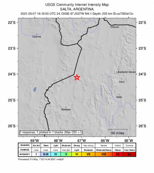 GEO Community Internet Intensity Map for the San Antonio De Los Cobres, Argentina 4.1m Earthquake, Friday May. 07 2021, 1:19:50 PM