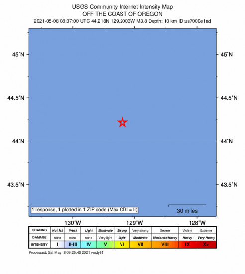 Community Internet Intensity Map for the Oregon 3.8m Earthquake, Saturday May. 08 2021, 1:37:00 AM