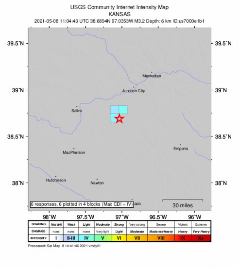 GEO Community Internet Intensity Map for the Hope, Kansas 3.2m Earthquake, Saturday May. 08 2021, 6:04:43 AM