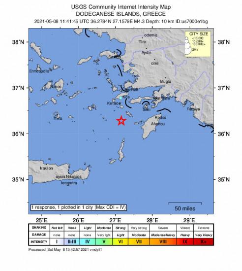 Community Internet Intensity Map for the Mandráki, Greece 4.3m Earthquake, Saturday May. 08 2021, 2:41:45 PM