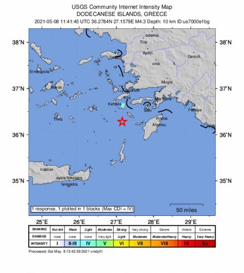 GEO Community Internet Intensity Map for the Mandráki, Greece 4.3m Earthquake, Saturday May. 08 2021, 2:41:45 PM