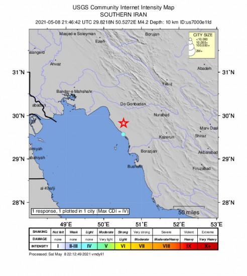 Community Internet Intensity Map for the Bandar-e Genāveh, Iran 4.2m Earthquake, Sunday May. 09 2021, 2:16:42 AM