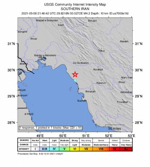GEO Community Internet Intensity Map for the Bandar-e Genāveh, Iran 4.2m Earthquake, Sunday May. 09 2021, 2:16:42 AM