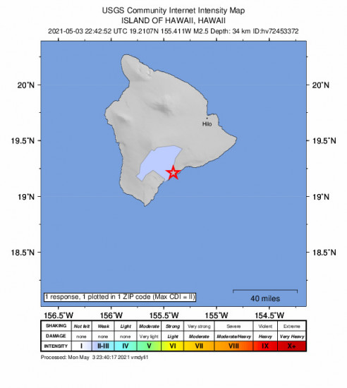 Community Internet Intensity Map for the Pāhala, Hawaii 2.5m Earthquake, Monday May. 03 2021, 12:42:52 PM