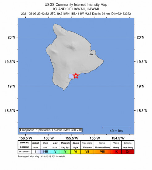 GEO Community Internet Intensity Map for the Pāhala, Hawaii 2.5m Earthquake, Monday May. 03 2021, 12:42:52 PM
