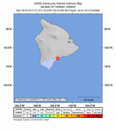 Community Internet Intensity Map for the Pāhala, Hawaii 2.63m Earthquake, Monday May. 03 2021, 9:07:21 PM
