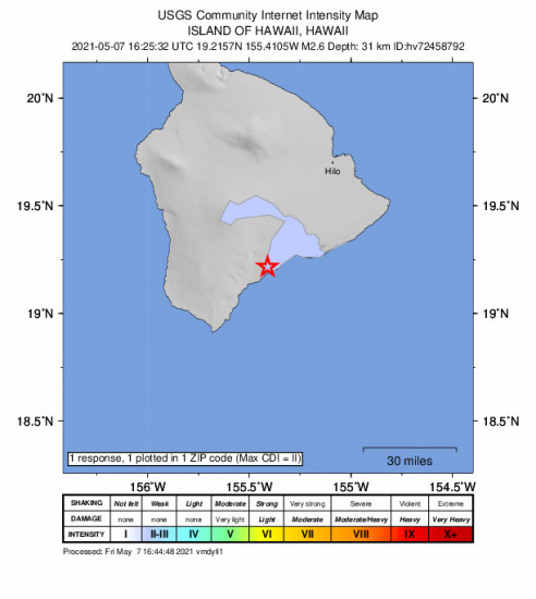 Community Internet Intensity Map for the Pāhala, Hawaii 2.58m Earthquake, Friday May. 07 2021, 6:25:32 AM