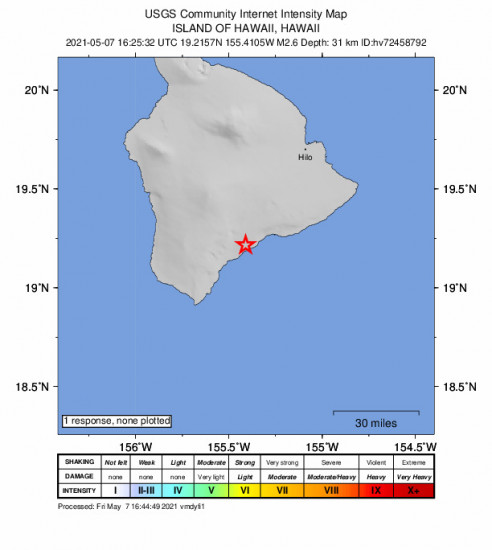 GEO Community Internet Intensity Map for the Pāhala, Hawaii 2.58m Earthquake, Friday May. 07 2021, 6:25:32 AM