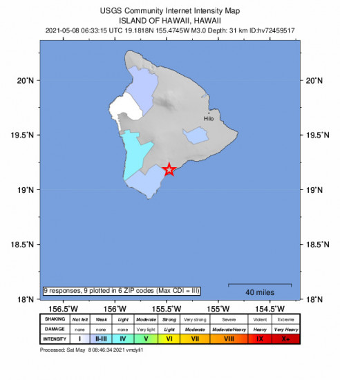 Community Internet Intensity Map for the Pāhala, Hawaii 2.98m Earthquake, Friday May. 07 2021, 8:33:15 PM