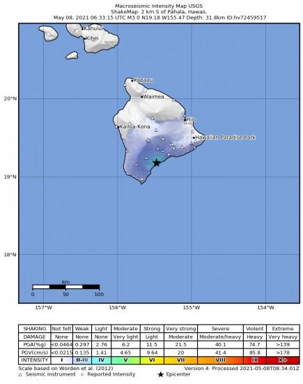 Macroseismic Intensity Map for the Pāhala, Hawaii 2.98m Earthquake, Friday May. 07 2021, 8:33:15 PM
