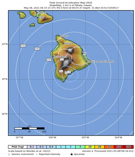 Peak Ground Acceleration Map for the Pāhala, Hawaii 2.98m Earthquake, Friday May. 07 2021, 8:33:15 PM
