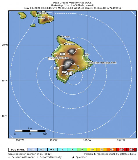 Peak Ground Velocity Map for the Pāhala, Hawaii 2.98m Earthquake, Friday May. 07 2021, 8:33:15 PM
