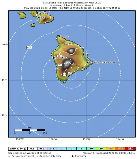 0.3 Second Peak Spectral Acceleration Map for the Pāhala, Hawaii 2.98m Earthquake, Friday May. 07 2021, 8:33:15 PM
