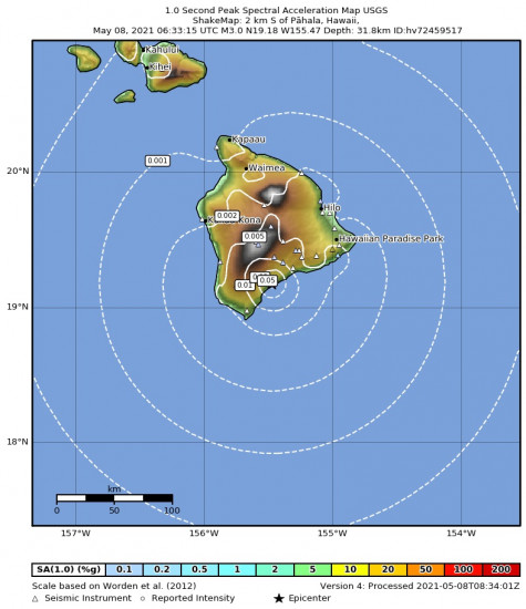 1 Second Peak Spectral Acceleration Map for the Pāhala, Hawaii 2.98m Earthquake, Friday May. 07 2021, 8:33:15 PM