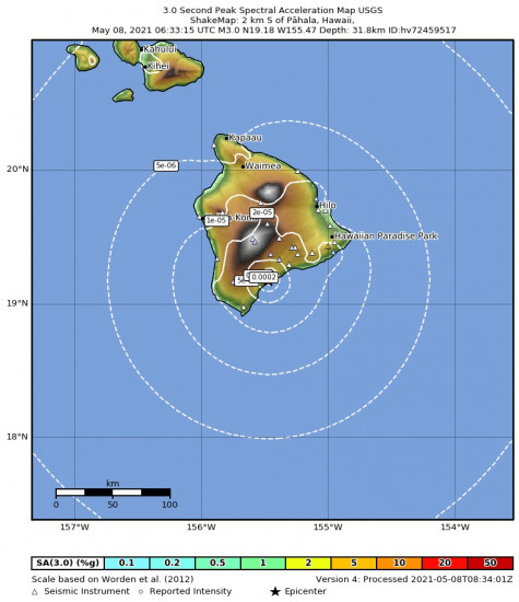 3 Second Peak Spectral Acceleration Map for the Pāhala, Hawaii 2.98m Earthquake, Friday May. 07 2021, 8:33:15 PM