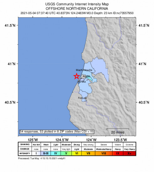Community Internet Intensity Map for the Eureka, Ca 2.95m Earthquake, Tuesday May. 04 2021, 12:37:40 AM