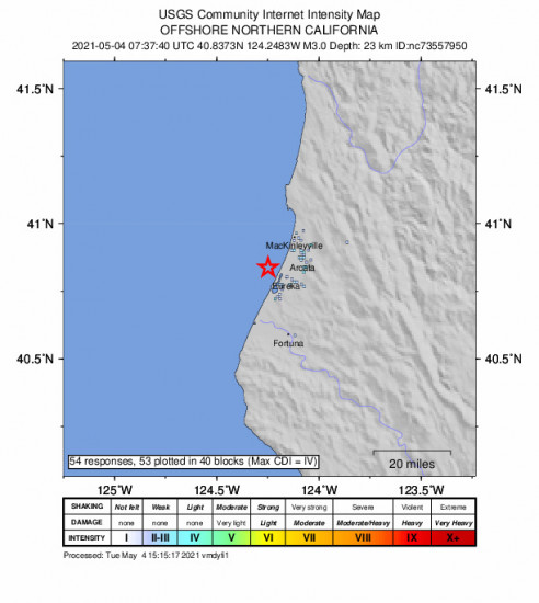 GEO Community Internet Intensity Map for the Eureka, Ca 2.95m Earthquake, Tuesday May. 04 2021, 12:37:40 AM