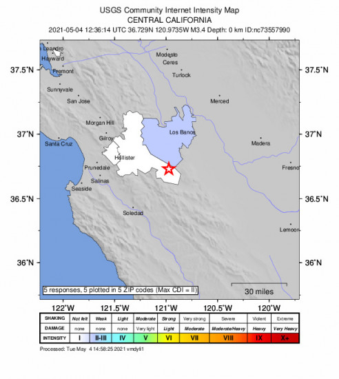 Community Internet Intensity Map for the Pinnacles, Ca 3.38m Earthquake, Tuesday May. 04 2021, 5:36:14 AM