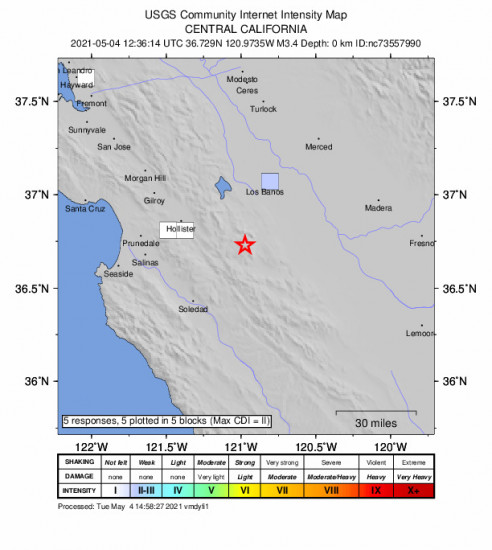 GEO Community Internet Intensity Map for the Pinnacles, Ca 3.38m Earthquake, Tuesday May. 04 2021, 5:36:14 AM