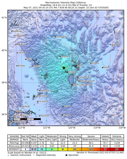 Macroseismic Intensity Map for the Truckee, Ca 4.65m Earthquake, Thursday May. 06 2021, 9:35:14 PM