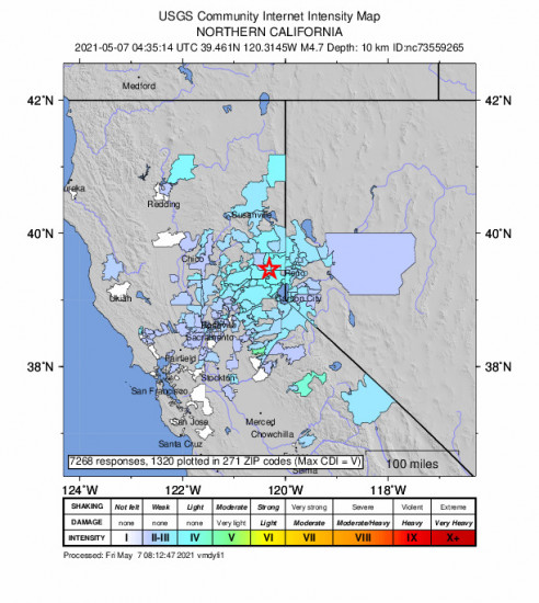 Community Internet Intensity Map for the Truckee, Ca 4.65m Earthquake, Thursday May. 06 2021, 9:35:14 PM