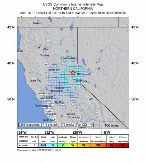 GEO Community Internet Intensity Map for the Truckee, Ca 4.65m Earthquake, Thursday May. 06 2021, 9:35:14 PM
