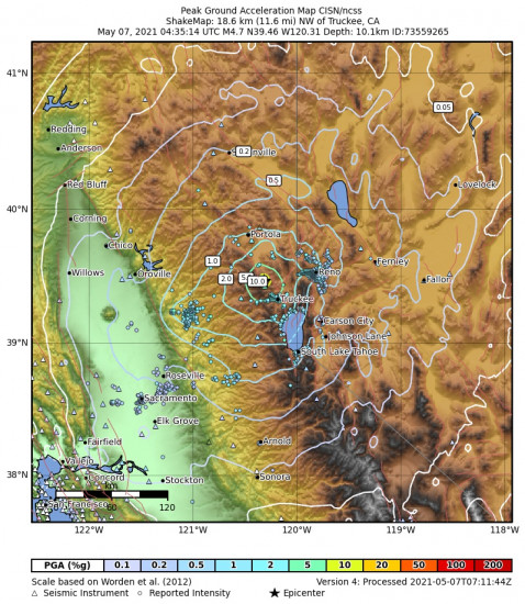 Peak Ground Acceleration Map for the Truckee, Ca 4.65m Earthquake, Thursday May. 06 2021, 9:35:14 PM