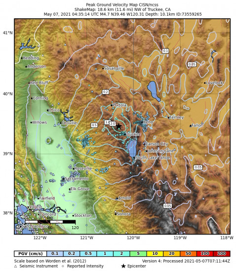 Peak Ground Velocity Map for the Truckee, Ca 4.65m Earthquake, Thursday May. 06 2021, 9:35:14 PM