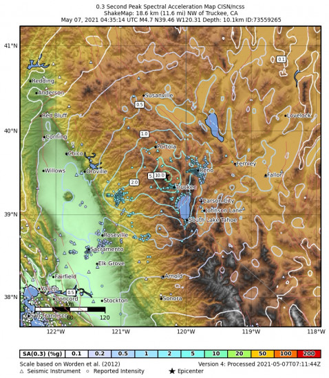 0.3 Second Peak Spectral Acceleration Map for the Truckee, Ca 4.65m Earthquake, Thursday May. 06 2021, 9:35:14 PM