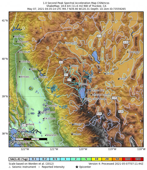 1 Second Peak Spectral Acceleration Map for the Truckee, Ca 4.65m Earthquake, Thursday May. 06 2021, 9:35:14 PM