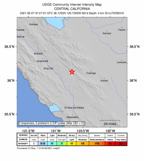 Community Internet Intensity Map for the San Ardo, Ca 2.63m Earthquake, Friday May. 07 2021, 12:27:01 AM