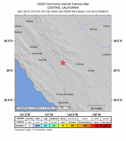 GEO Community Internet Intensity Map for the San Ardo, Ca 2.63m Earthquake, Friday May. 07 2021, 12:27:01 AM
