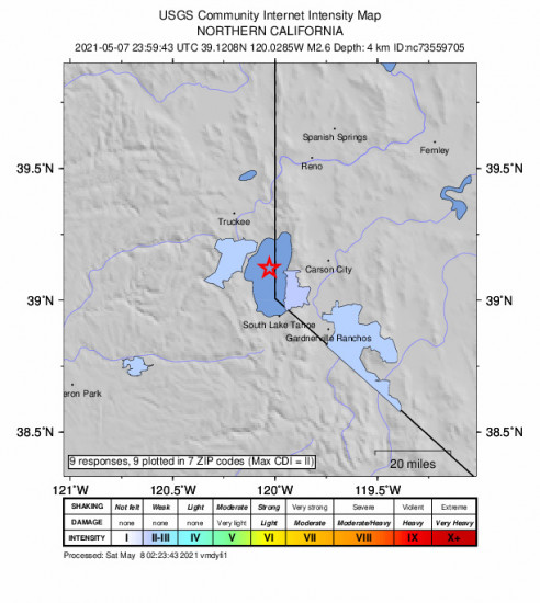 Community Internet Intensity Map for the Dollar Point, Ca 2.6m Earthquake, Friday May. 07 2021, 4:59:43 PM